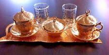 Juego de café turco agua 2 X Tazas, bandeja de vidrio de Porcelana Tazón de fuente de deleite,
