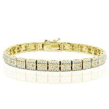 18K Gold Tone 0.10ct TDW Natural Diamond Square Tennis Bracelet in Brass