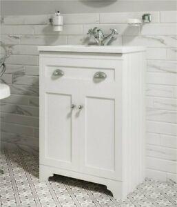 600mm 2 Door Traditional Victorian Matt White Floor Standing Sink Vanity Unit