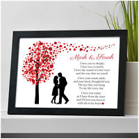 Personalised I Love You Couples Poem Valentines Gifts for Her Him Wife Husband