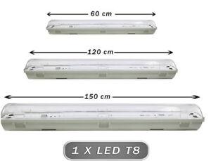 Plafoniera stagna 1 neon led tubo t8 g13 60 120 150 cm 220v a soffitto Ip65