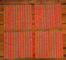 Set of 4 Colorful Woven Rainbow Fringe Cotton Ethnic Table Placemats Settings