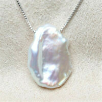 Fashion White petals Baroque Pearl Pendant Necklace South Sea fashion Irregular