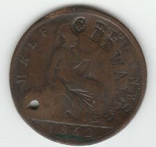 """1862 Great Britain Half Penny Doubled Counterstamp """"G EDWARDS"""" error"""