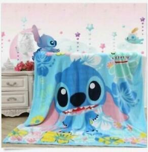 Disney stitch blue coral fleece Bed blanket rug blankets warm soft 150x200CM N1
