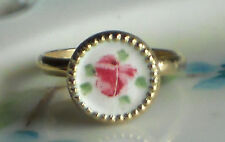 #698T Vintage Ring Guilloche Enamel Rose Handpainted Floral 2 adjustable NOS