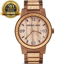 Original Grain Watch Barrel Case Steel Strap 12 Hour Wood Dial Men's Wrist Watch
