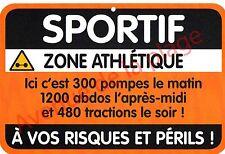 "Plaque de porte humoristique Zone de Danger ""Sportif"" idée cadeau NEUF"