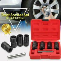 5PCS Locking Wheel Nut Remover Set Bolt Nut Impact Spiral Socket Extractor Tool