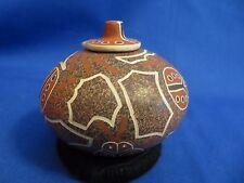 Signed Gabriella Corona Mata Ortiz Fine Polychrome Lady Bug Pottery With Lid