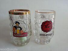 Vintage HOLSTEN and SCHULTHEISS  BIER  BEER GLASS MUG MUNCHEN GERMANY
