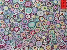 17,09€/m² => 25cmx110cm: PAPERWEIGHT - Kreise / Blumen - GRAU  = Kaffe Fassett