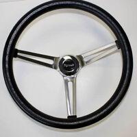 """Barracuda Cuda Fury Belvedere Grant Black Steering Wheel 15"""" Stainless Spokes"""