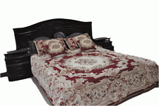 DaDa Bedding Red Victorian Floral Chenille Medallion Tapestry Bedspread Set Twin