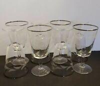 Vtg Set 8 MCM Silver Rimmed Crystal Wine Glasses Goblets Etched Leaf MI France
