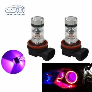 NEW 14000K 2x H8 H9 H11 H16 100W Purple LED Headlight Bulbs Kit Fog Light