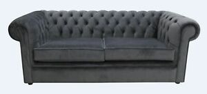 Chesterfield Luxury Thomas 3 Seater Settee Amalfi Anthracite Velvet Uk Handmade