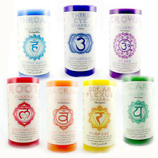 SEVEN CHAKRA SET of 7 Meditation Yoga Reiki candle CANDLES Scented Pillar