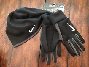 $35 NIKE Running Hat Gloves Set Men L XL Microfleece Therma Reflective Black NEW