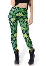 Lucky Girl Womens Marijuana Weed Hemp Leaf Floral Print Womens Black Leggings