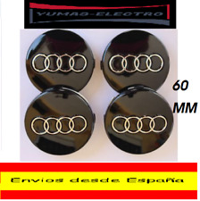 PACK  DE 4  TAPABUJES LLANTA  AUDI TT,A1,A2,A3,A4,A5..ECT..60 MM EMBLEMA NEGRO