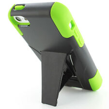Green Black Rugged Hybrid Armor Hard Case Cover Y Stand For iPhone 5C w/Screen