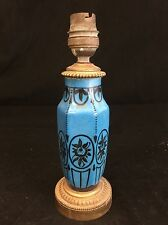 Lampe Porcelaine Bleue Art Deco Monture Bronze Doré Design Limoges Lamp