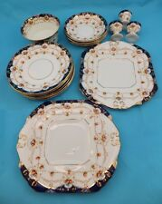BESWICK B&S WARWICK 1920s CHINA DINNER SET - COBALT BLUE & GOLD IMARI STYLE