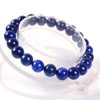 8MM Handmade Natural Lapis Lazuli Stone Round Beads Stretch Men Bangle Bracelet