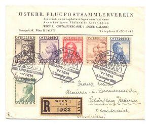 AUSTRIA 1934 REG. COVER USED ARCHITECTS SET ( 6 ) F.D.I.