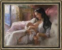 "Original Oil Painting art Impressionism Mother and child on canvas 30""x40"""