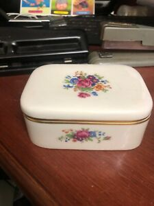 Beautiful Vintage Lenox  Trinket Jewelry Box Floral & Gold Edge Square G15