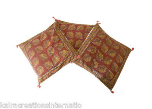 """Indian Kantha Cushion Covers Handmade New Pillow Covers Block Printed 16""""3 Pcs"""