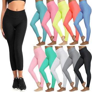 Ladies Honeycomb Anti-Cellulite Leggings Trouser Womens High Waist Yoga Pants