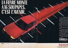 PUBLICITE ADVERTISING 114 1986 TOYOTA Corolla GT 16 soupapes (2 pages)