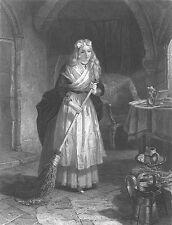 MARIA DAUGHTER OF FRANCE SUN KING LOUIS XVI IN PRISON ~ 1868 Art Print Engraving