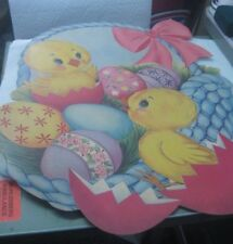 "Vintage Easter Chicks in Basket Cardboard Decoration, 16"" x 12, 1960's"