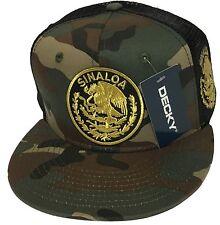 SINALOA MEXICO HAT 2 LOGOS CAMO BLACK MESH TRUCKER LOGO FEDERAL SNAP BACK