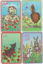 Swap Cards ~ FOREVER CLOVER Series 3 ~ Our pets x 4  Glitter