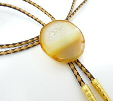 Vintage Bolo Tie with Polished Stone Cross Section Slide Large Brown