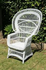 1970s Vintage French White Peacock Wicker Chair, Boho Chic