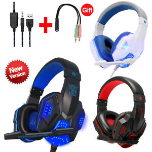 Gaming Headset Mic LED 3.5mm Headphones Stereo Surround  PS5 PS4 Xbox ONE iPad