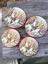 Vintage Stove Burner Covers Christmas Set Of 4 Red Holiday Scene
