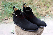 New Handmade Mens Latest Black Jodhpur Suede Ankle High Boots with Crepe Sole