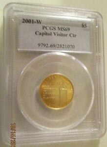 2001W U. S. Capitol Visitor Center Gold $5. PCGS MS69 graded at 12% off