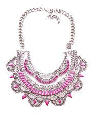 Layla -Fuchsia Pink Gem & Diamante Encrusted Bib Statement Necklace(Ns12)