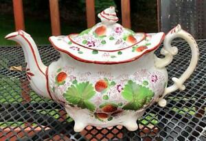 Antique Staffordshire Pearlware Strawberry Decorated Footed Teapot,  c. 1820