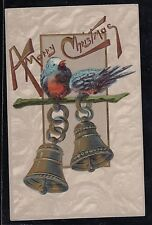 Antique Vintage Postcard A Merry Christmas Birds and Bells