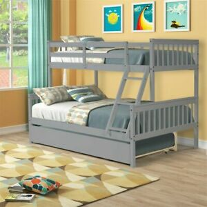 Twin over Full Bunk Beds with Trundle Wood Bed Frame For Kids Adult Grey, White