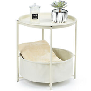 Kingrack Coffee Round Table Sofa SideTable Bedside End Table Metal Nightstand